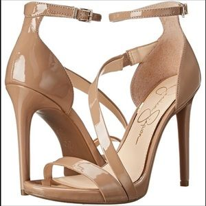 Jessica Simpson Nude Vegan Patent Leather Heels